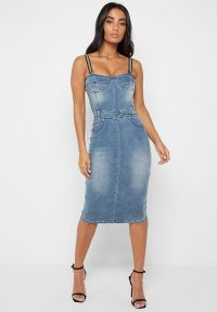 Manière De Voir DENIM MIDI DRESS WITH EMBELLISHED STRAPS – BLUE