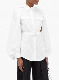 JW ANDERSON Detachable-cape belted white cotton shirt