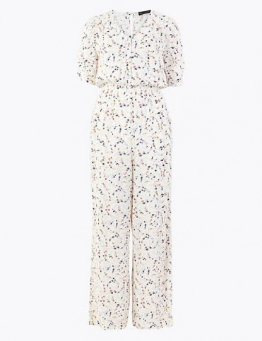 M&S COLLECTION Ditsy Floral Waisted Jumpsuit Ivory Mix / summer jumpsuits