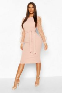 boohoo Dobby Mesh Organza Sleeve Crepe Midi Dress in Blush