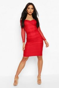 BOOHOO Dobby Off Shoulder Ruched Bodycon Midi Dress in Red