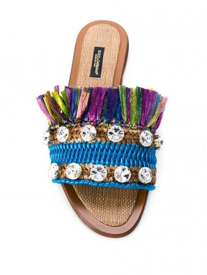 DOLCE & GABBANA crystal-embellished fringed slide sandals | luxe slides