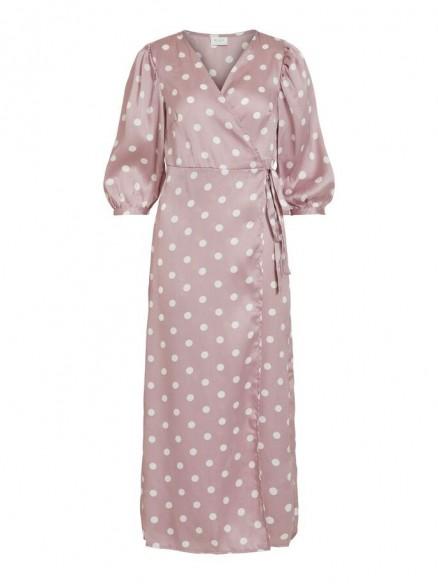 VILA DOTTED 3/4 SLEEVED WRAP DRESS Purple / Iris
