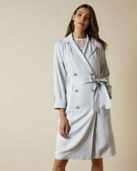 TED BAKER SOPHHYA Double breasted mac in light blue – lightweight trench