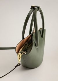 MANGO Double strap mini basket bag khaki REF. 67004424-GINA-LM | small green handbags