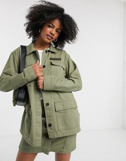 Dr Denim utility jacket with pockets ~ green utility jackets