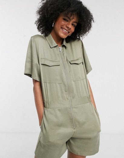 Dr Denim utility playsuit green agate ~ utilitarian playsuits