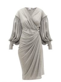 BURBERRY Draped-front balloon-sleeve jersey dress in grey