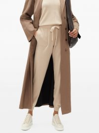 ALLUDE Drawstring wool-blend trousers in beige ~ casual luxe ~ cuffed pants
