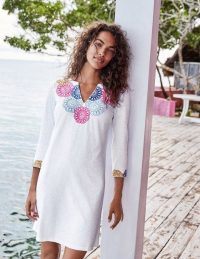Boden Eda Embroidered Jersey Tunic in White/Multi ~ summer vacation clothing ~ chic tunics