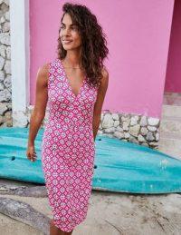 Boden Eden Jersey Dress in Party Pink, Diamond Drop