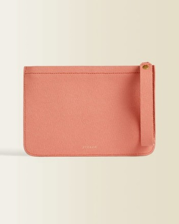 Jigsaw ELI TEXTURED LEATHER CLUTCH Coral / pop of colour for summer outfits