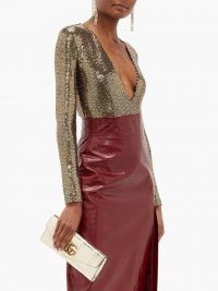 Gold plunge bodysuit | GUCCI Embellished V-neck bodysuit