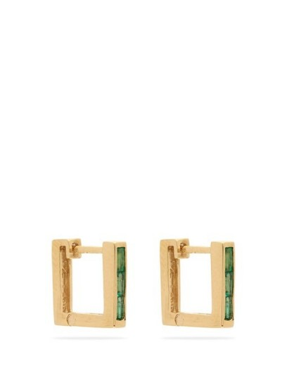 LIZZIE MANDLER Emerald & 18kt gold square huggie earrings ~ modern silhouette ~ contemporary green stone huggies