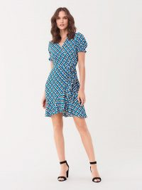 Diane von Furstenberg Emilia Ruffled Crepe Mini Wrap Dress in Diamond Squares Coastal / DVF dresses