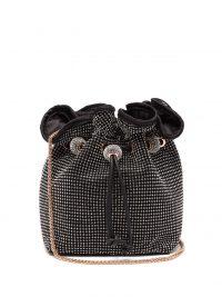 SOPHIA WEBSTER Emmie crystal-embellished black-satin bucket bag