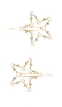 Ettika Star Hair Clips | faux pearl embellished stars