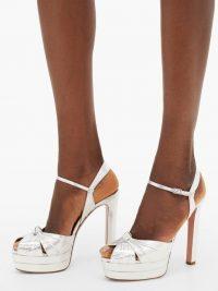 AQUAZZURA Evita metallic-effect leather platform sandals in silver