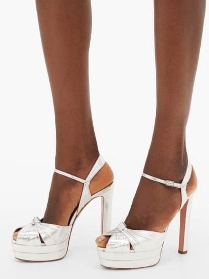 AQUAZZURA Evita metallic-effect leather platform sandals in silver