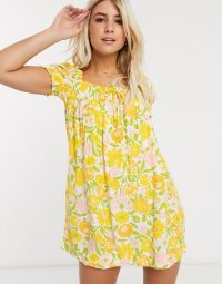 Faithfull fleur floral square neck short sleeve mini dress in Jolene floral print / yellow 70s prints / retro style summer dresses