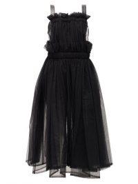 NOIR KEI NINOMIYA Faux-leather trim tulle dress in black ~ lbd