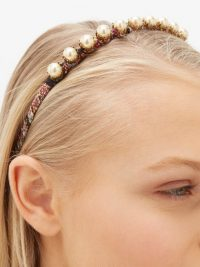ETRO Faux-pearl paisley-print silk headband | luxe look headbands