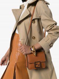 FENDI Fab crystal logo box bag in brown leather