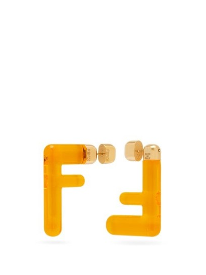 FENDI FF yellow acetate earrings ~ designer fashion accessory