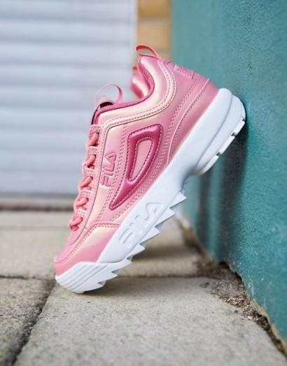 Fila Disruptor II trainers in metallic pink patent – girly sports shoe