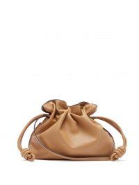 LOEWE Flamenco camel-leather clutch