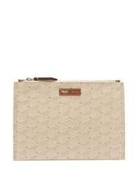 MÉTIER Flat small logo-print coated-canvas pouch in cream ~ pouches ~ small bags
