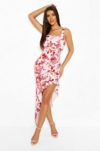 boohoo Floral Print Square Neck Ruffle Maxi Dress in Lilac