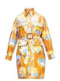 FENDI Floral-print coated-cotton coat in tan-brown ~ retro prints ~ designer outerwear