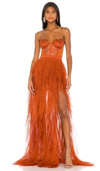 For Love & Lemons X REVOLVE Bustier Gown Rust