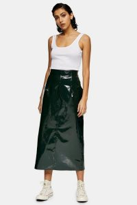 Topshop Boutique Forest Green Vinyl Leather Skirt | high shine skirts