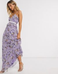 Forever U maxi ruffle cami dress in lilac floral