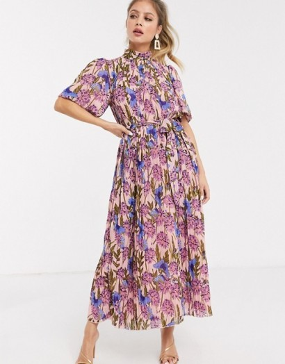 Forever U pleated midaxi dress in blush floral / romantic look high neck dresses