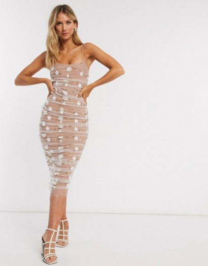 Forever U ruched midi dress with 3d floral in taupe/white / strappy bodycon with sheer overlay