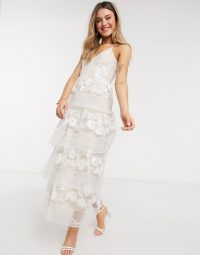 Forever U tiered midi dress in embroidered lace in white in white / feminine occasion wear