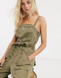 Free People go west utility jumpsuit in moss / strappy green jumpsuits