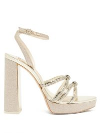 SOPHIA WEBSTER Freya leather and glitter platform sandals in champagne-gold