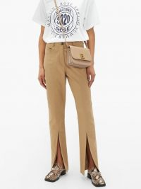 MARTINE ROSE Front-slit cotton-twill trousers in beige