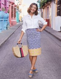 Boden Gabriella Pencil Skirt in Blue, Sun Tile ~ spring / summer pencil skirts