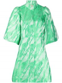 GANNI green jacquard mini dress