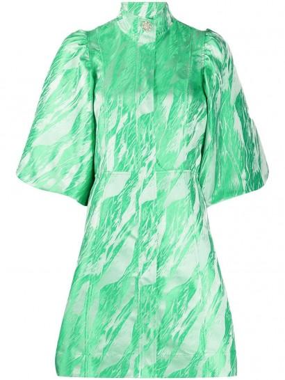 GANNI green jacquard mini dress