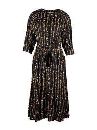 OLIVER BONAS Garden Floral Print Black Midi Dress