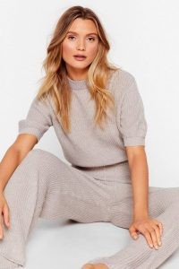 Nasty Gal Get On With Knit Wide-Leg Trousers Lounge Set in Grey