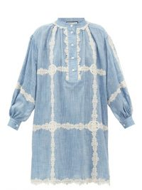 GUCCI GG lace-trimmed cotton-chambray dress ~ lightweight denim dresses
