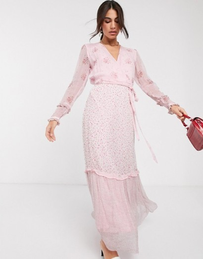 Ghost avery georgette mixed floral print maxi dress in aurelia ditsy / feminine summer fashion / romantic look dresses