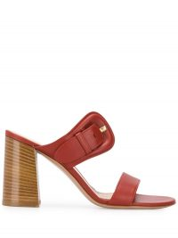 GIANVITO ROSSI buckled strap mules in red